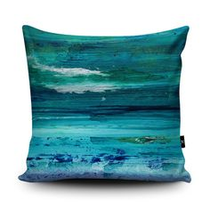 Turquoise Cushion, Turquoise Pillow, Blue cushion, Seascape Blue pillow case…