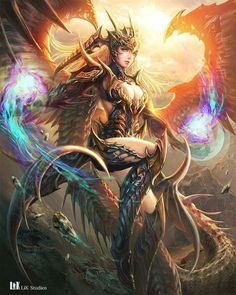 Image shared by Sticris. Find images and videos about design, fantasy and wings on We Heart It - the app to get lost in what you love. Fantasy Girl, Fantasy Art Women, Fantasy Warrior, Dark Fantasy Art, Anime Fantasy, Fantasy Artwork, Dragon Warrior, Angel Warrior, Fantasy Dragon