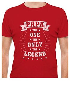 dd0bb638 Papa The One The Only The Legend - Best Gift for Father Men's T-Shirt XXXXX- Large Red
