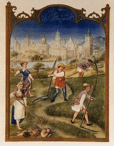 Le fatiche di Giugno: fienagione - Breviario Grimani - manoscritto miniato - scuola Gand-Bruges - 1490-1510 -  Venezia - Biblioteca Nazionale di San Marco.