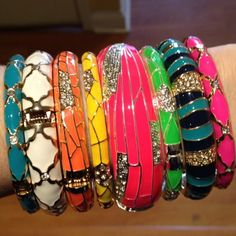 enamel bangles from Sequin a la Charm & Charm, loving the neon