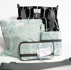 Diaper Bag Gift Set - Black Arrow Diaper Bag - Turquoise Triangle  Wipes Case Travel Pad Wet Bag - Messenger Strap