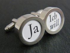 """Manschettenknöpfe """"Ja, Ich will"""" für den Bräutigam // cuff links for the groom by Miou via DaWanda.com"""