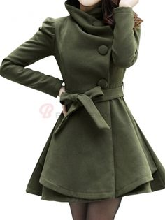 BuyTrends.com Offers Cheap Women's Special Design Wide Turn Down Collar Puff Sleeve Slim Trench Coat [CU75060980] with High Quality and Wholesale price US$35.99