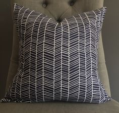 Pillow Cover, Navy Blue and White Herringbone Pillow Cover - AUDREY