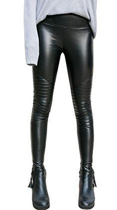 78585a02ed32f iPretty SEXY Womens Faux Leather High Waisted Wet Look Liquid Black Leggings  Stretchy Pants 2XL Black