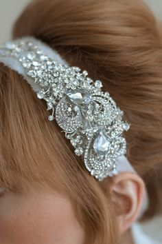 Bridal rhinestone headband - Rhinestone adorned silk chiffon headband - Style 011 - Made to Order. $210.00, via Etsy.