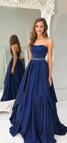 Hot Selling Prom Dress,A Line Prom Dresses,Strapless Prom Gown,Navy Blue Prom Dresses,Long Evening Dresses,Beading Prom Dress #blue #strapless #long #beading #aline #prom #okdresses