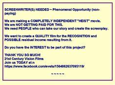 Screenwriter needed
