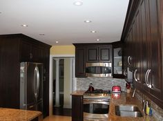 Custom kitchen cabinets with chocolate pear MDF cabinet doors