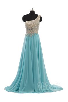 Fashion Sheath-Column One Shoulder Natural Train Chiffon Blue Sleeveless Side Zipper Evening Dress with Beading and Crystals COST15001