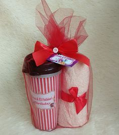 Birthday hamper Towel 30 x 70 and instert tumbler Free design IG @lenyrumahkado