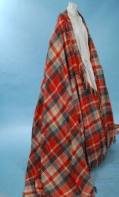 1860 GRAND RED/GRAY/CREAM FINE WOOL SCOTTISH TARTAN SHAWL HUGE