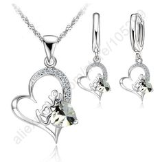 925 Sterlng Silver Jewelry Sets lOVE IN HEART Cubic Zircon Pendant Necklace Leveback Earrings Jewelry Sets