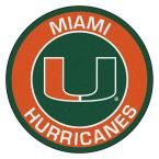 Ncaa University of Miami Orange 2 ft. 3 in. x 2 ft. 3 in. Round Accent Rug