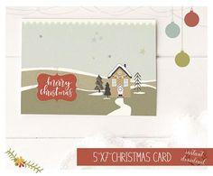 Printable Holiday Card-White Christmas Card-5x7 Holiday Retro Christmas, White Christmas, Holiday Cards, Christmas Cards, Christmas Biscuits, Connect, Merry, Printables, Seasons