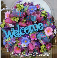 Spring Wreath Summer Wreath Deco Mesh Wreath WELCOME Wreath Purple Teal-Lime Fuchsia Daisey Hydrangeas Door Wall Wreath