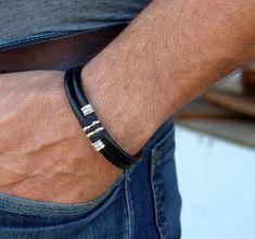 EXPRESS SHIPPING Men's Leather Bracelet. Black by EsraLeather
