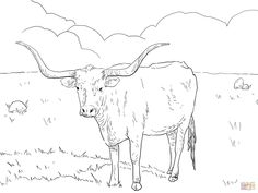 Texas Longhorn Cow coloring page from Longhorn category. Select from 27278 printable crafts of cartoons nature animals Bible and many more. Cow Coloring Pages, Free Printable Coloring Pages, Free Coloring, Coloring Books, Coloring Sheets, Kids Coloring, Longhorn Cow, Longhorn Cattle, Hereford Cows