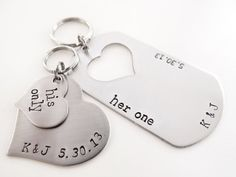 Her One, His Only Matching Keychains. Valentines Day Heart Keychains, His and Hers. Initials & Dates. on Etsy, $34.00