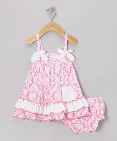 Look what I found on #zulily! Pink Damask Ruffle Swing Top & Diaper Cover - Infant by Royal Gem #zulilyfinds