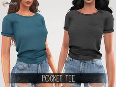 The Sims 4 Elliesimple - Pocket tee - Jenifer - Sims 4 Teen, Sims 5, Sims 4 Toddler, Sims 4 Cas, Maxis, Los Sims 4 Mods, Cc Top, Vetements Clothing, Pelo Sims