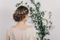 Crystal and pearl wedding hair vine back of head