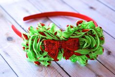 Grinch Christmas Shabby Chic-  Newborn, Toddler, Little Girl, Teen, Adult Headband (flowers pinned in Holidays, sequin bows at Ribbon Retreat under Trims)