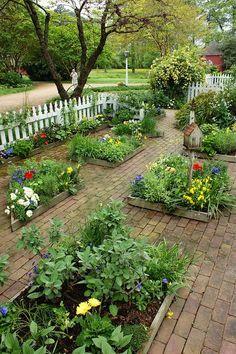 Raised Garden with brick paths