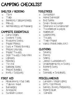 Camping checklists and must haves. Camping Ideas, Camping Hacks, Camping Jeep, Camping Packing, Camping Supplies, Camping And Hiking, Family Camping, Outdoor Camping, Packing Lists