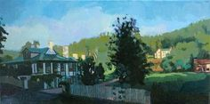 "Ann Glover,    ""Bath County Farmhouse""  Oil on Canvas,   12 x 24 inches"
