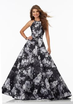 Morilee by Madeline Gardner 99060 | Floral Printed Larissa Satin Prom Gown with Delicate Beading. High Scoop Neckline and Strappy Back. Zipper Back Closure. Colors Available: Black/White Floral