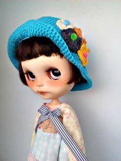 Gorro Blythe, Sombrero Blythe azul, Gorro Blythe crochet, Sombrero Blythe crochet con apliques de Blythecolors en Etsy