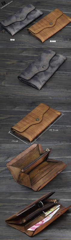 Handmade Men long leather wallet men multi cards vintage gray brown wallet for him