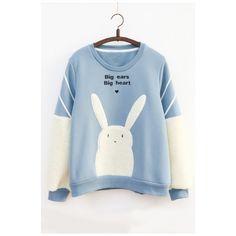 Round Neck Cartoon Rabbit Print Long Sleeve Color Block Pullover... ($38) ❤ liked on Polyvore featuring tops, hoodies, sweatshirts, blue hooded sweatshirt, hoodie pullover, pullover hoodie sweatshirt, hoodie sweatshirts and blue sweatshirt