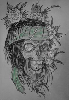 skulls and roses wallpaper black and white - Google Search
