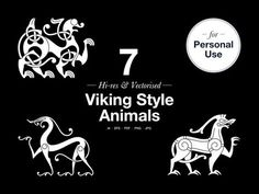A set of 7 editable vector and Hi-res graphics All the designs are based on the principles and characteristics of the actual Viking Age art styles of ornaments from artefacts f… Norse Tattoo, Viking Tattoos, Warrior Tattoos, Armor Tattoo, Norse Runes, Norse Mythology, Viking Designs, Celtic Designs, Celtic Symbols