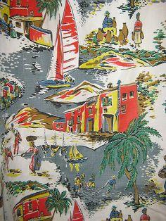 Stunning pair of shabbychic vintage barkcloth curtains Motifs Textiles, Vintage Textiles, Textile Patterns, Textile Prints, Vintage Patterns, Print Patterns, Fabric Design, Pattern Design, Pattern Art