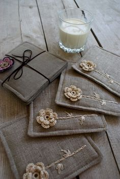 Set of 4 coasters/ linen/sewing, crocheting and embroidery. via Etsy.