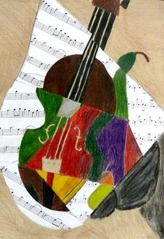Jazzy Cubism use music sheets for the paper background