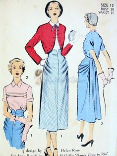Rare 1950s Helen Rose Designed 3 Pc Suit Pattern Beautiful Draped Hips Skirt Bolero Jacket, Pretty Tuck In Blouse Advance 5422 Designed For Jane Powell in MGMs Nancy Goes To Rio Movie