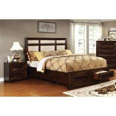 Furniture of America Bradey Simple 2-piece Walnut Ivory Linen King-size Bedroom Set (King), Brown