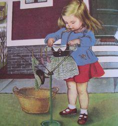 We help Mummy 3 Illustration taken from 'We help Mummy' by Jean Cushman, pictures by Eloise Wilkin. Images Vintage, Vintage Pictures, Vintage Children's Books, Vintage Cards, Up Book, Book Art, Jessie Willcox Smith, Little Golden Books, Children's Literature