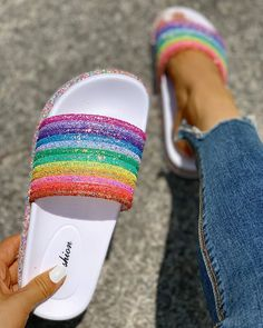 Sale Women's rainbow sequins flat slipper sandals online, get great deals at tiosebon.com