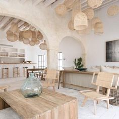 Two new hotels in Menorca that are making it the destination of the summer. Fontenille Menorca interiors with natural colour, wicker basket, natural wood. Hotel Bedroom Design, Bathroom Interior Design, Hotel Interiors, Rustic Interiors, Filipino Interior Design, Menorca Hotels, Open Hotel, Simple Furniture, Cafe Interior
