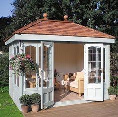 Malvern Ashton x garden shed diy Milford Cedar Summer House Backyard Studio, Backyard Sheds, Backyard Patio, Backyard Retreat, Pool Shed, Backyard Office, Outdoor Sheds, Garden Office, Shed Design