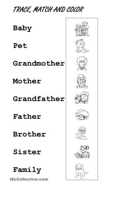 Trace Family Members English English Worksheets For Kids English Worksheets For Kindergarten, Teaching Kindergarten, Kindergarten Worksheets, Multiplication Worksheets, Vocabulary Worksheets, Kids English, English Lessons, English English, English Reading