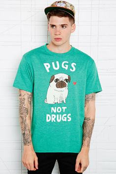 Pugs Not Drugs Tee in Green Marl at Urban Outfitters