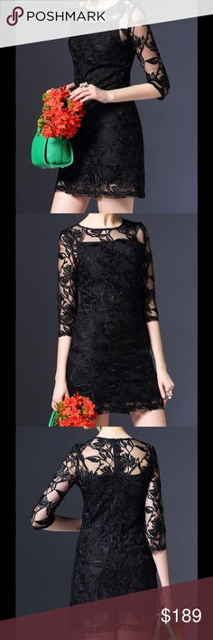 """Floral Embroidered Mini Dress This is just stunning! Fabric - 90% polyester/10% cotton. Length - 33.5"""". Waist - 26"""". international Designer Dresses Mini"""
