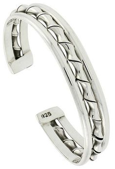 Sterling Silver 3 Row Wire Cuff Bangle Bracelet with Bamboo Twist 11 mm (7/16 in.) wide Sabrina Silver. $164.61